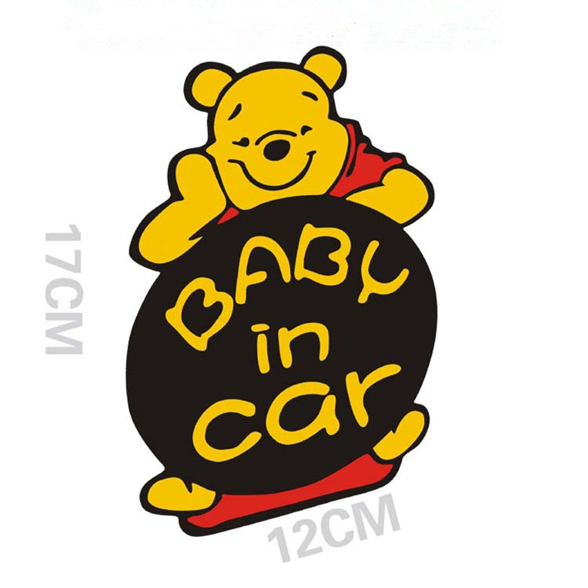 """/""""Baby on Board/"""" Pooh Bear Car Decal//Sticker-yellow"""