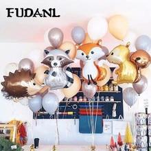 1pcs  Big Jungle Hedgehog Fox Raccoon Balloons Cartoon Animal Aluminum Helium Balloon Birthday Safari Party Decor Classic Toys