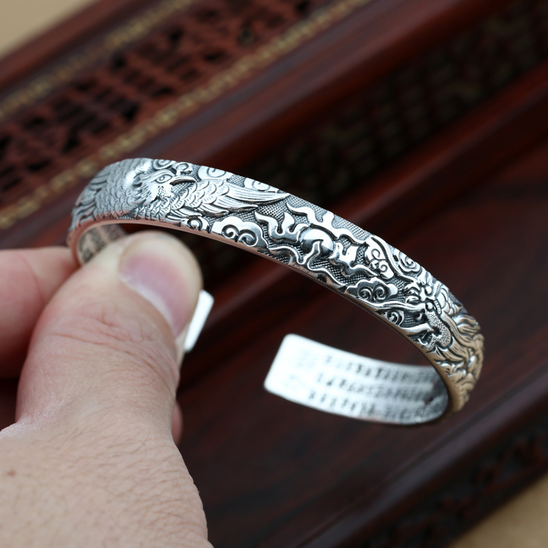 Thai silver fashion longfeng propitious to restore ancient ways men and women lovers in sterling silver braceletThai silver fashion longfeng propitious to restore ancient ways men and women lovers in sterling silver bracelet