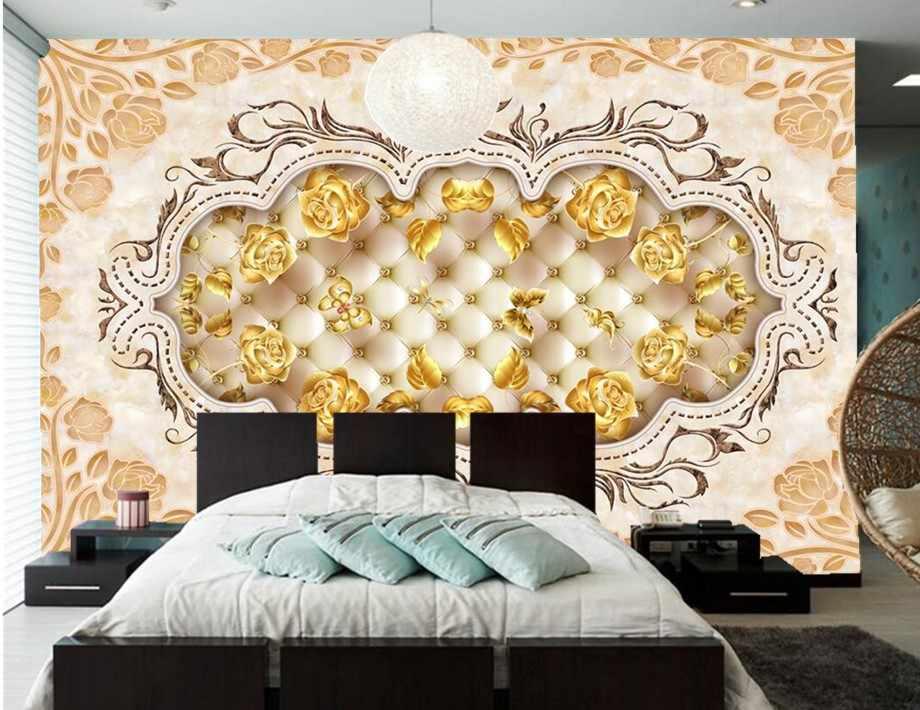 Murales grandes personalizados, papel de pared de mármol dorado rosa, papel pintado 3d dormitorio pared TV sofá sala de estar restaurante hotel