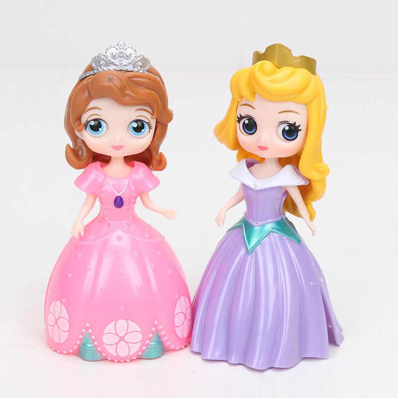 6 pz/set Principessa Q Posket Figure Giocattoli Rapunzel Ariel Cinderella Neve Bianco di Azione del PVC Figura Bambola Giocattolo Per Le Ragazze Regali