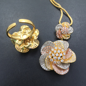 Image 5 - Lanyika Jewelry Set Vivid Spiral Stereo Flowers Necklace with Earrings and Ring Cubic Zircon Micro Paved for Party Bridal Gift
