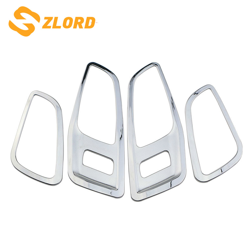 Zlord 4Pcs/Set Chrome Interior Handle Trim Inner Door Handle Decoration Trim Sticker For Ford Kuga Escape 2013 - 2017