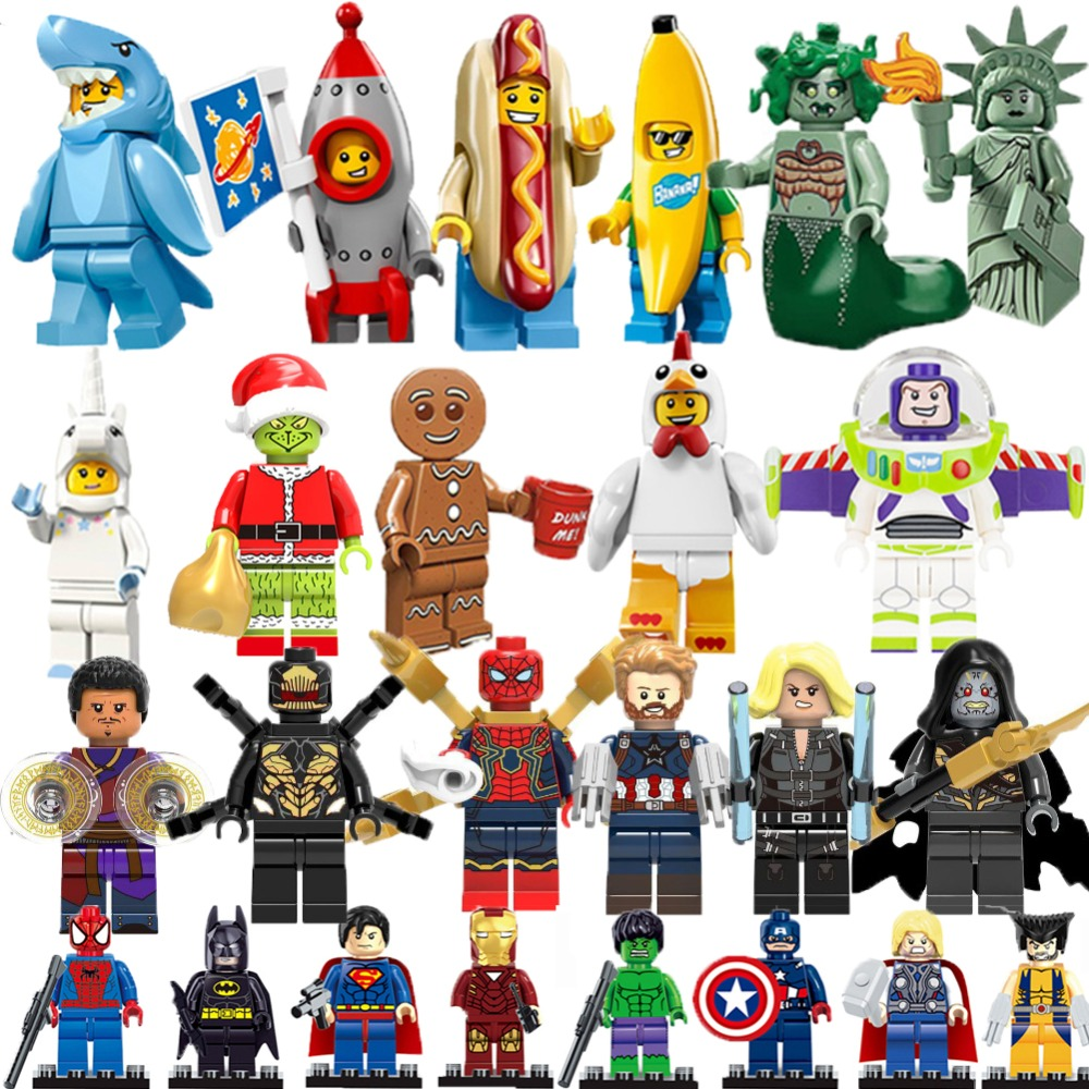 Legoingly Marvel Superheros Batman Spiderman Banana Man Buzz Lightyear Building Block Figures Toys For Children Compatible Duplo(China)