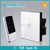Shinelite 1Gang UK Standard White Black Smart Home Wireless RF433 Switches Luxury Glass