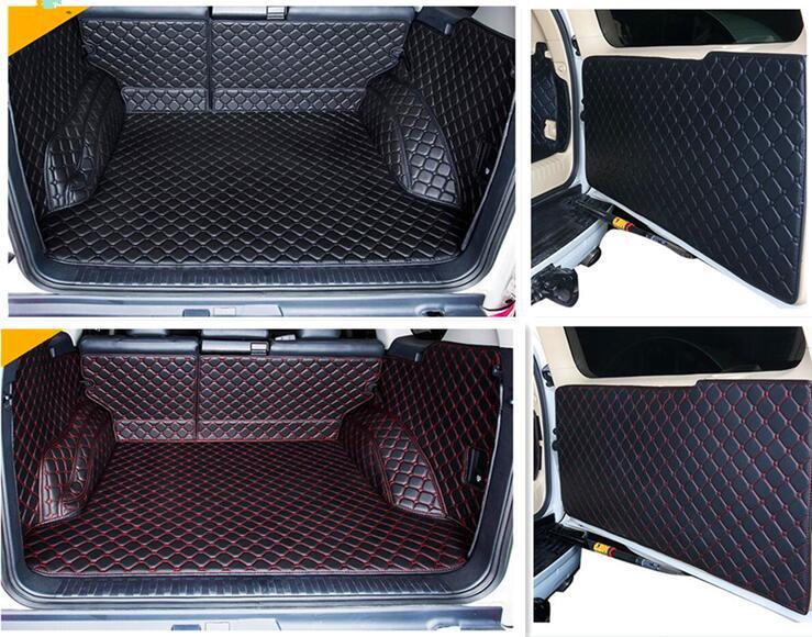 Полный Комплект ковриков для багажника, коврики и коврики для задней двери для Toyota Land Cruiser Prado 150, 5 мест, 2018-2010, стильные ковровые покрытия для ...