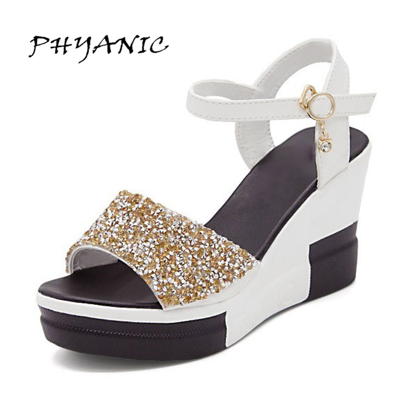 PHYANIC Wedges Gladiator Sandals 2017 New Bling Glitters High Heels Summer Platform Shoes Woman Casual Creepers XDY8006 phyanic 2017 gladiator sandals gold silver shoes woman summer platform wedges glitters creepers casual women shoes phy3323