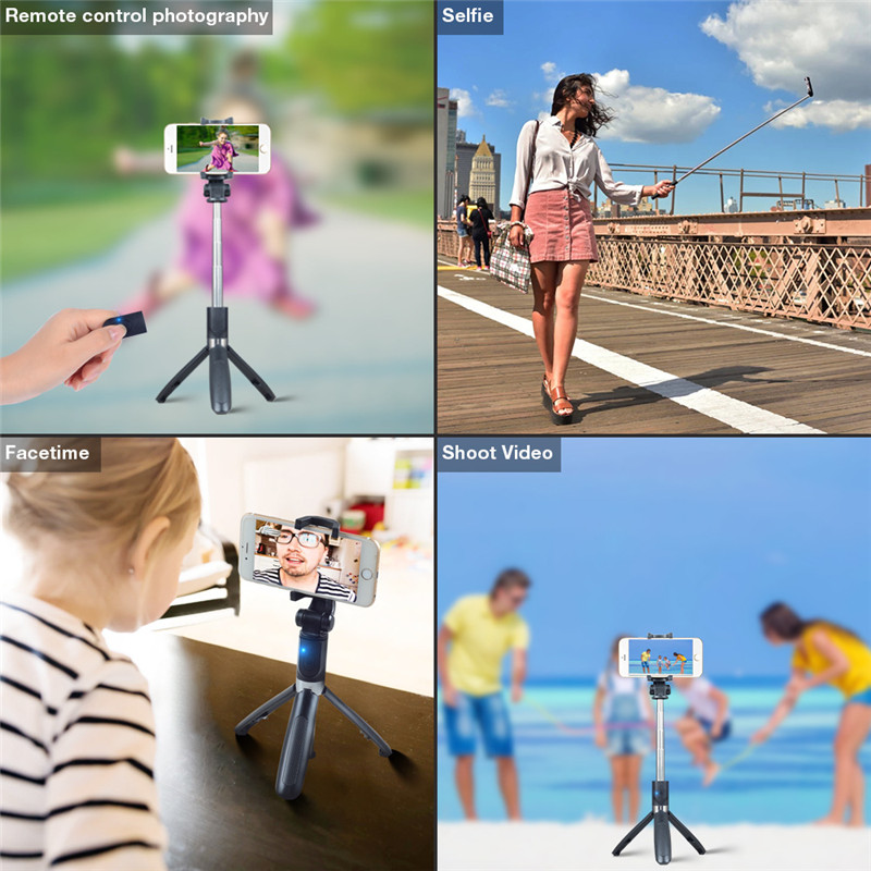 Купить с кэшбэком koabbit Selfie Stick Tripod With Bluetooth Remote Control for iPhone Tripod for Phone Gopro Sport Camera Light Monopod with Clip