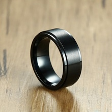 Recommend Fashion Stainless Steel Black Color Mens Spinner 8mm Rings Party Trendy Jewelry Man Ring Size 8 9 10 11 12 13 fashion stainless steel silver color men spinner ring punk jewelry personality male rings size 7 8 9 10 11 12