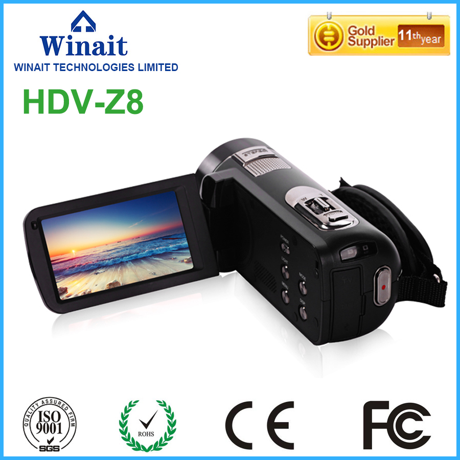 Freeshipping HDV-Z8 digital video camera full hd 1080p professional video camcorder with 3.0touch LCD screen