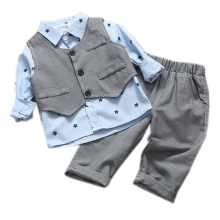 spring / autumn bebe baby boy,gentleman kids baby boy clothes vest+shirt+pant 3 pcs infant boy clothing set