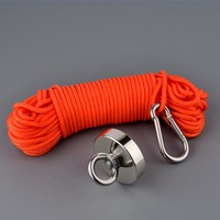400lbs Magnet 60mm Neodymium Permanent N52 Magnet Strong Fishing Magnets Design Magnet with 20m Rope Gloves Magnetic Material