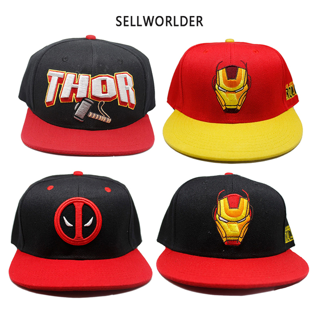 df389d738cd86 2018 Avengers Thor Ironman Deadpool Movie Character Printed Casual Hip-hop Baseball  Caps
