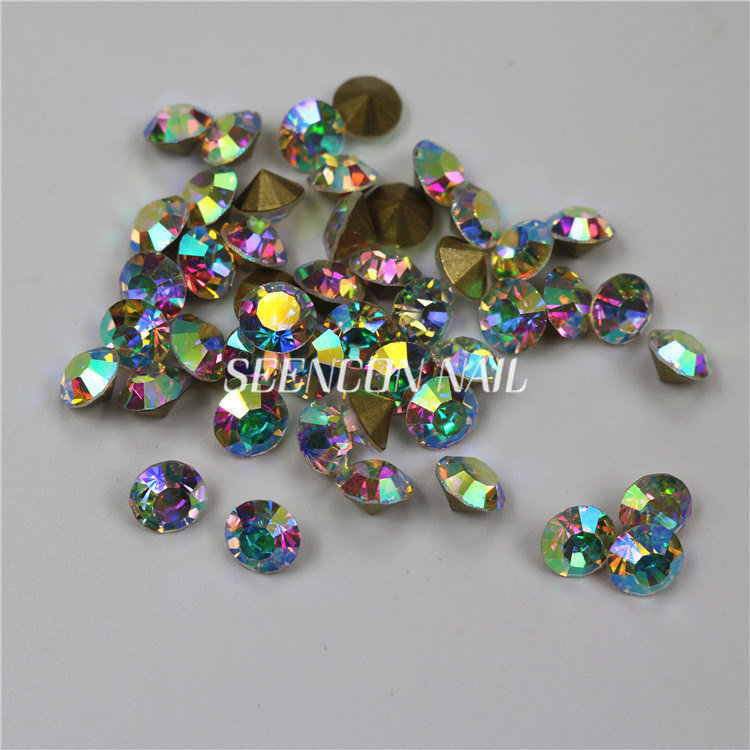 1440pcs lot Crystal AB Non Hotfix Round Pointed Back Rhinestones for Nails  3D Nail Art Sharp Decoration Glitter Crystal-in Rhinestones   Decorations  from ... 7ac5e8f8aae6