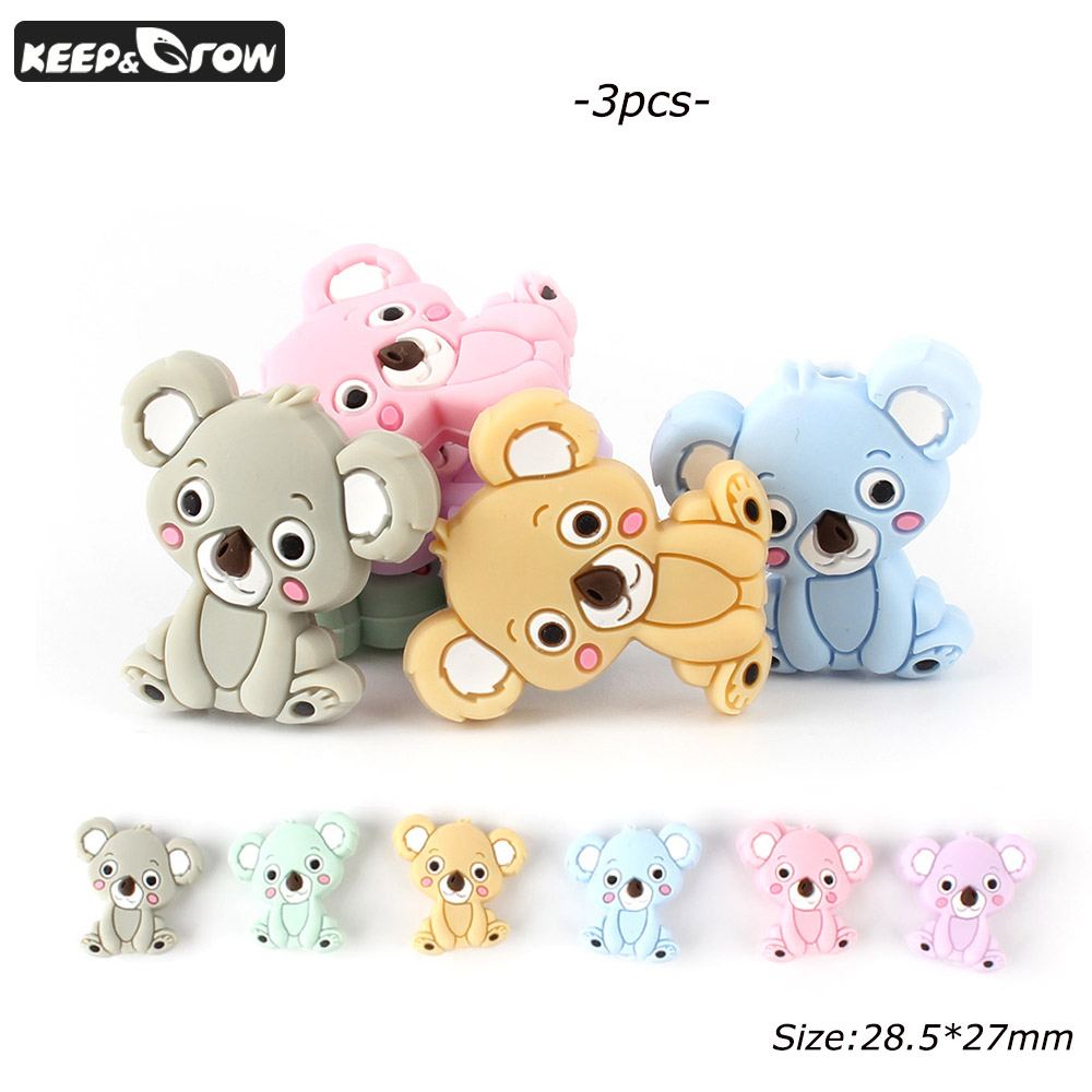 KEEP&GROW 3Pcs Mini Koala Silicone Beads Food Grade Baby Teething Beads DIY Pacifier Chain Necklace Accessories Silicone Teether
