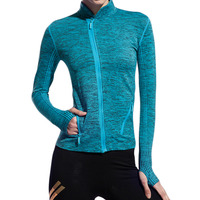 Women S Personalized Zipper Slim Running Mountaineering Long Sleeved Dyeing Quick Drying Yoga Fitness Jacket
