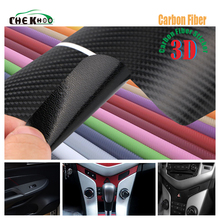 цена на 1pcs 30cmx127cm 3D Carbon Fiber Vinyl Car Wrap Sheet Roll Film Car sticker Decals Motorcycle Car Styling Accessories Automobiles