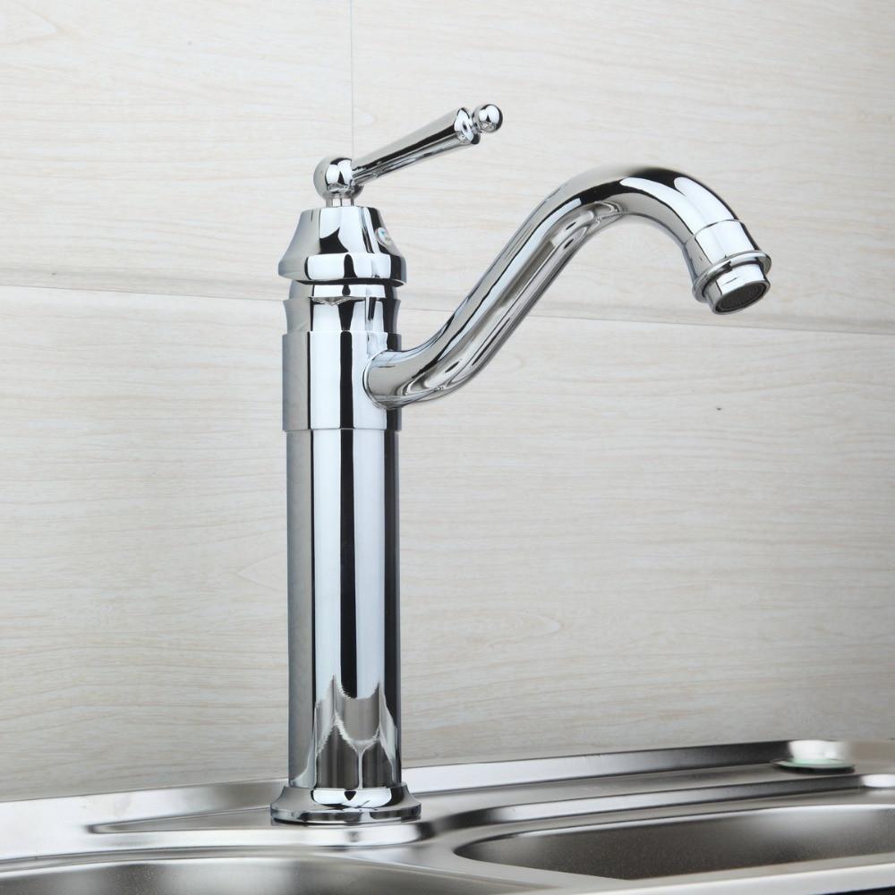 цена на Hot&Cold New 8370-2 Kitchen Polished Chrome Luxury New Swivel Sink Tap Brass Basin Bathroom Vessel Mixer Torneira Cozinha Faucet