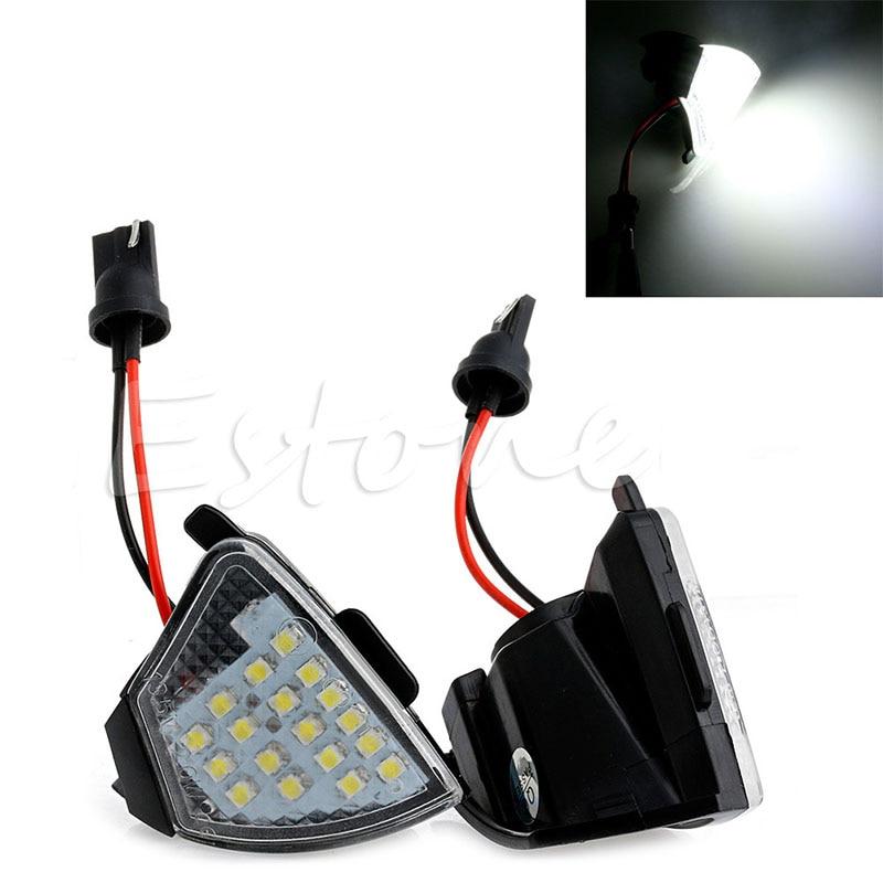 2x Error Free 18 LED Side Mirror Puddle Light For Vw Golf 5 Mk5 MkV Passat Jetta Eos 2pcs white led under side mirror puddle light fit for vw eos gti passat b6 jetta golf 5