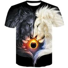 купить 2019 New Fashion Brand T-shirt Men/Women Summer 3d Tshirt Print Yin and Yang lion T shirt Hip Hop Tee Cool Men's Tops Tees дешево