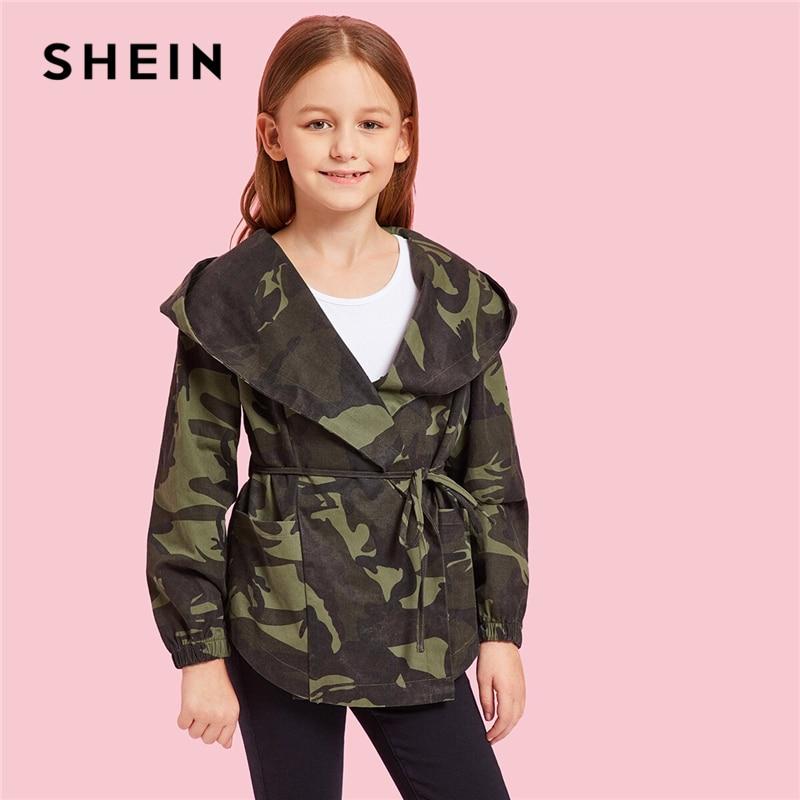 SHEIN Kiddie/камуфляжная куртка с капюшоном и поясом для девочек, пальто Детская одежда 2019 г., осенняя Повседневная куртка с длинными рукавами для подростков