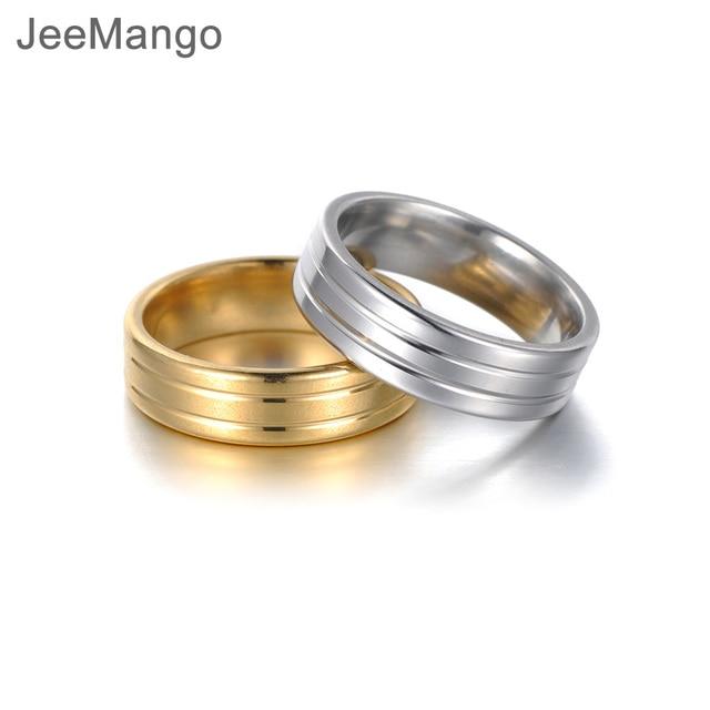 JeeMango New Creative Stainless Steel Ring For Women Men Couple Titanium Steel Wedding Ring Jewelry Drop Shipping Anneau R18116