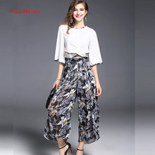 Fairy Dreams Women Two Piece Set Half Sleeve White Shirt Tops And Pants Print Trousers Summer Suit 2017 New Style Office Clothes