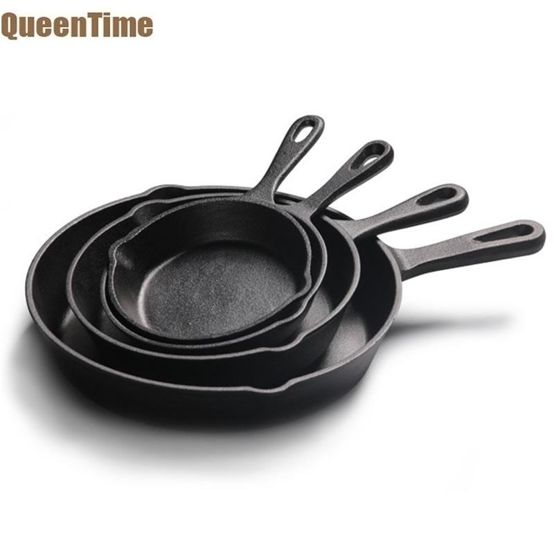 QueenTime Cast Iron Frying Pan With Spouts Non-stick Skillet Induction Cookware Pancake Crepe Pans Beef Grill Pots Kitchen Tools