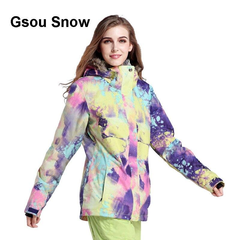 Prix pour Gsou Snow Étanche Femmes combinaison de Ski Chaud Coloré Snowboard Veste Coupe-Vent D'hiver Coton Costume Manteau