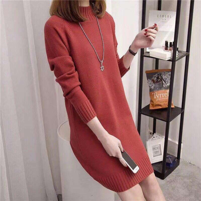Women Fashion Autumn Winter O neck Long Sweater Dress Ladies Warm Casual Sweater Dress