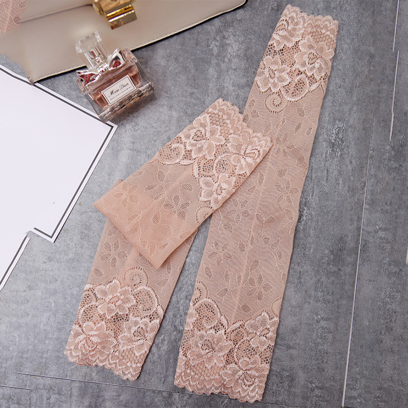 (One Pair) High Quality Portable Long Lace Sexy Bracers Short Cover Scars Tattoo Scaling Wrist Sleeve Black (38cm) One Size
