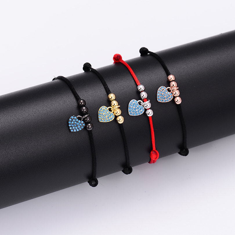 Summer Style Bohemia Blue Heart Charm Bracelet For Couple Trendy Gold Color Beads Rope Braiding String Bracelet Lucky Jewelry