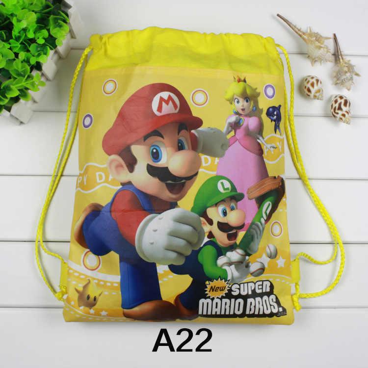 12 chiếc nhỏ Super Mario Bros chủ đề sinh nhật Quà Tặng không dệt dây rút goodie Túi trẻ em ủng hộ bơi trường ba lô