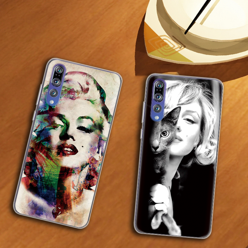 <font><b>Sexy</b></font> Girl Marilyn Monroe lady Coque For Huawei P20 Lite P8 P10 P30 P Smart 2017 2019 <font><b>Mate</b></font> 9 10 <font><b>20</b></font> S Pro Cover Soft Silicone Case image