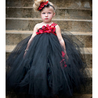 Flower Girl Kids Xmas Carnival Party Girl Ball Gown Dress Girls Kids Tutu Dress Halloween Witch