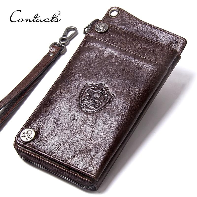 CONTACT'S Men's Wallet Genuine Leather Clutch Man Walet Brand Luxury Male Purse Long Wallets Zip Coin Purse  6.5