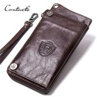 CONTACT'S Men's Wallet Genuine Leather Clutch Man Walet Brand Luxury Male Purse Long Wallets Zip Coin Purse 6.5 Phone Pocket