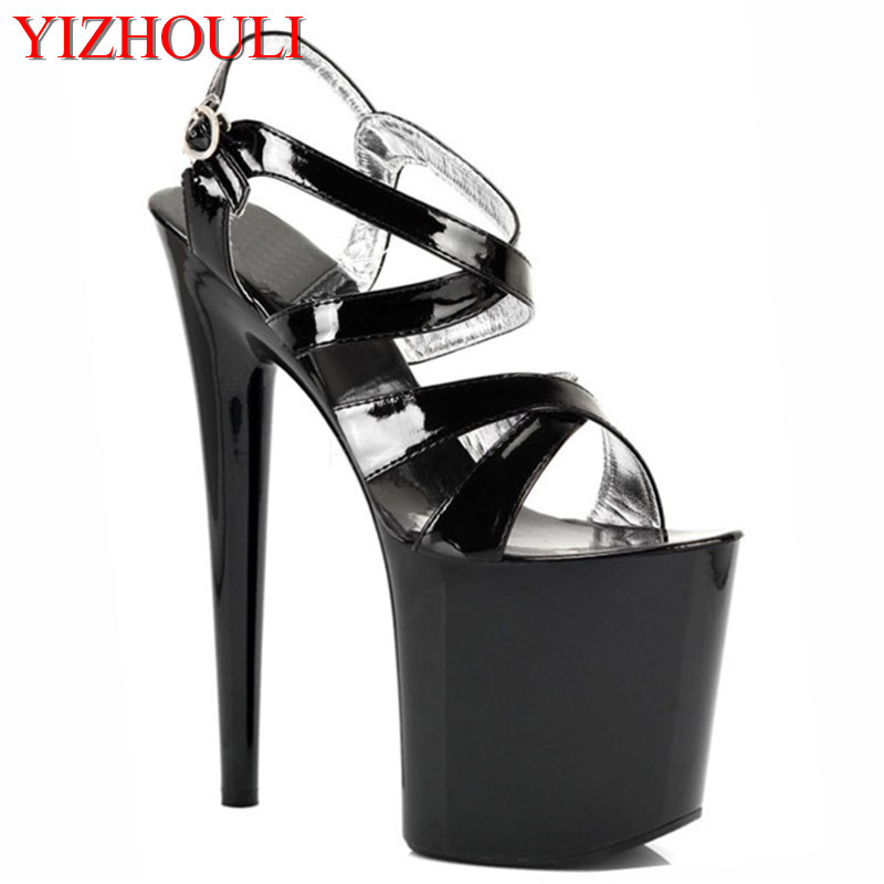 Women Summer Peep Toe Shoes White Black Fashion Platform Soft PU Sandals Lady High-Heeled Shoes Thick Heel Solid Buckle Sandals