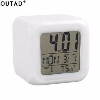 ポータブルラブリーファッション7色変更スクエアデジタル目覚まし時計付き液晶画面表示発光モードホームオフィス使用デジタル時計
