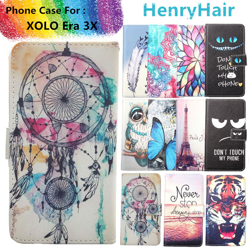 Top Selling 11 Colors Cartoon Painting PU Leather Magnetic clasp Wallet Cover For XOLO Era 3X Case