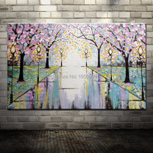 Frete Grátis Pintado À Mão Flores Rosa Estrada Lâmpada de Rua Abstrato Pintura A Óleo da Faca de Paleta Na Lona Decoração de Parede Para Casa