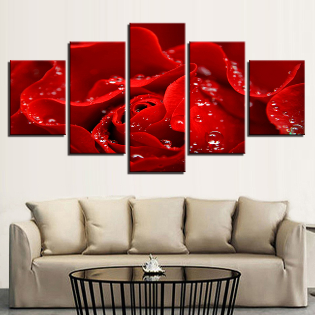 Fashion framed poster canvas painting wall art prints 5 panel red flower home decoration modular pictures