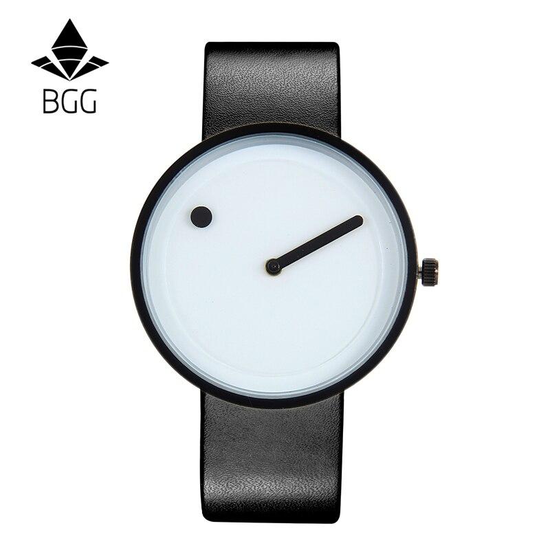 2017 estilo minimalista creativo relojes de pulsera BGG en blanco y - Relojes para hombres - foto 2