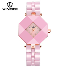 VINOCE Top Brand Watches Women Luxury Crystal Diamond Ceramic Bracelet Watches Waterproof Montre Femme Ladies Wristwatch