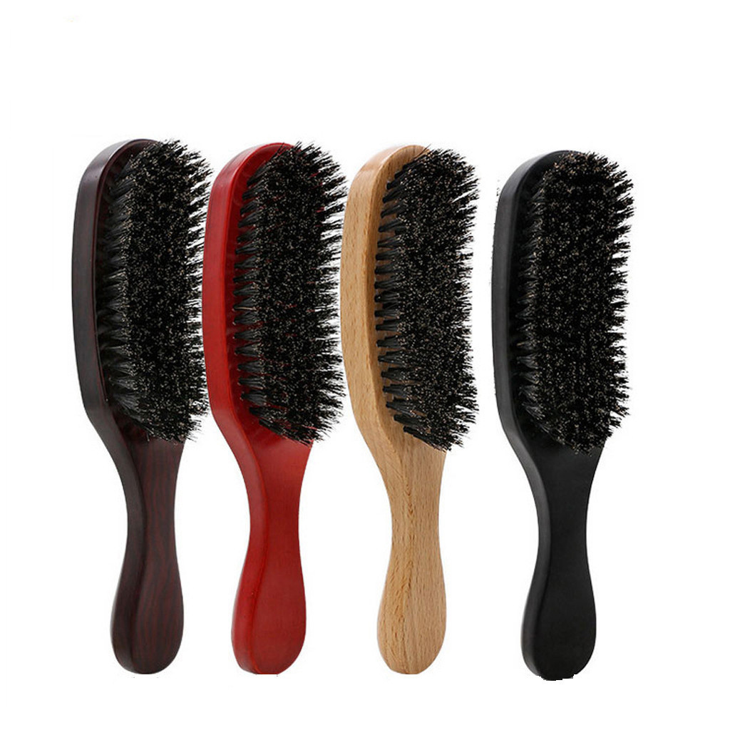 HAICAR Pig Bristle Wave Brush Brush Hair Comb Solid Wood Hair Beard Comb Health Large Curved Comb 2019 New