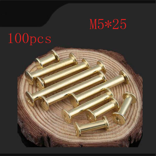 Чикаго Винты m5 * 25, 100 шт./лот Медь покрытием Чикаго винт 6 мм Стад заклепки ремень ремешок застежки, медь покрытие китайский