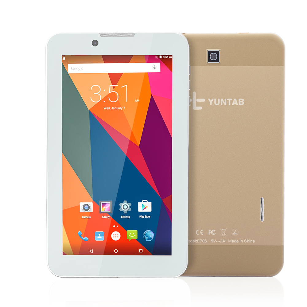 "New arrival Yuntab 7""Alloy E706 Android 5.1 touch screen 3G unlocked smartphone tablet PC with dual camera 2800mAh battery(gold)"