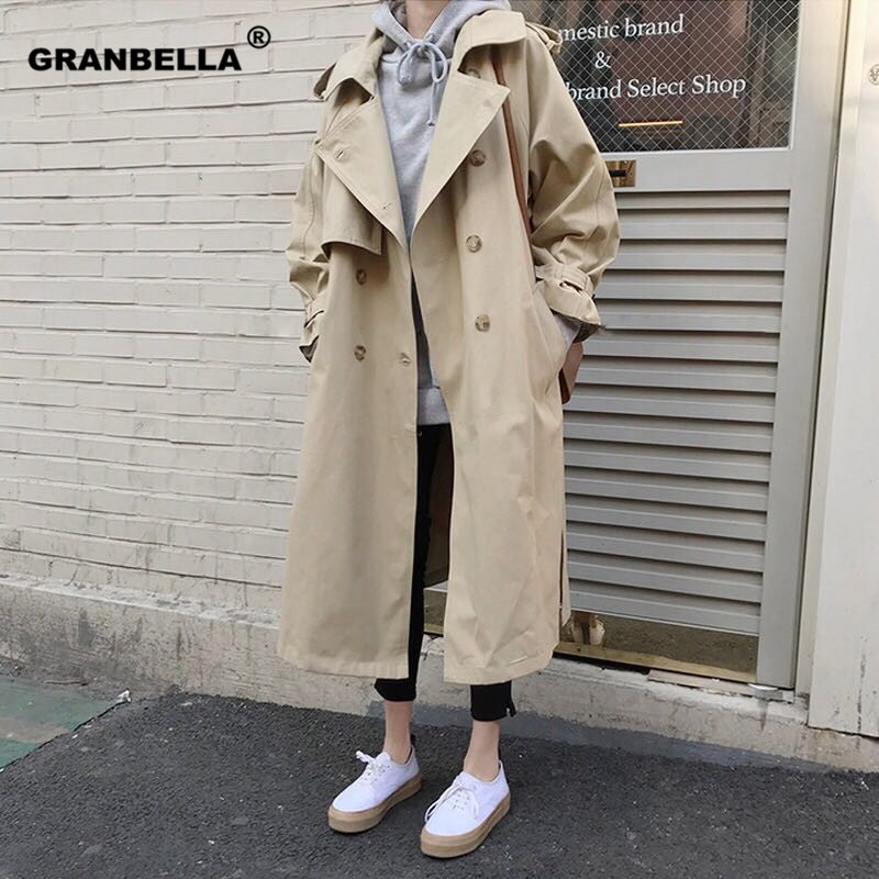 Spring Autumn New Women's Casual Trench Coat Oversize Double Breasted Vintage Outwear Sashes Chic Cloak Female Windbreaker 11