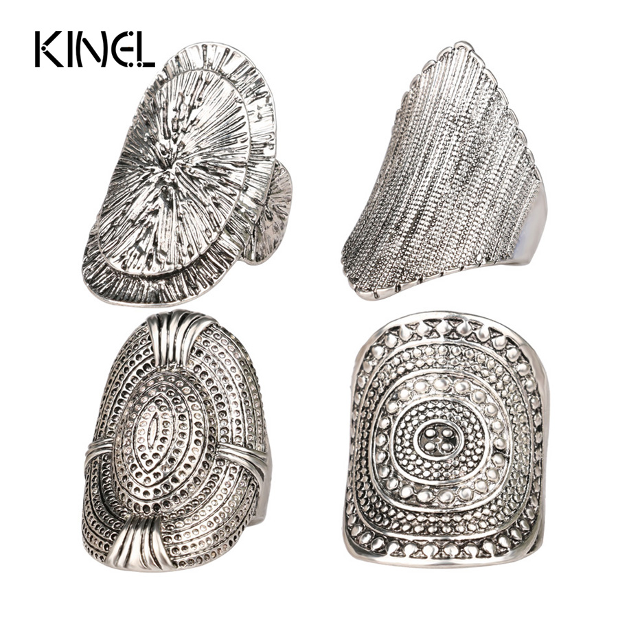 2016 LY Vintage New Unique Beautiful MiDi Ring 4pcs/Set Tibetan Antique Silver Plated Boho Jewelry Rings For Women
