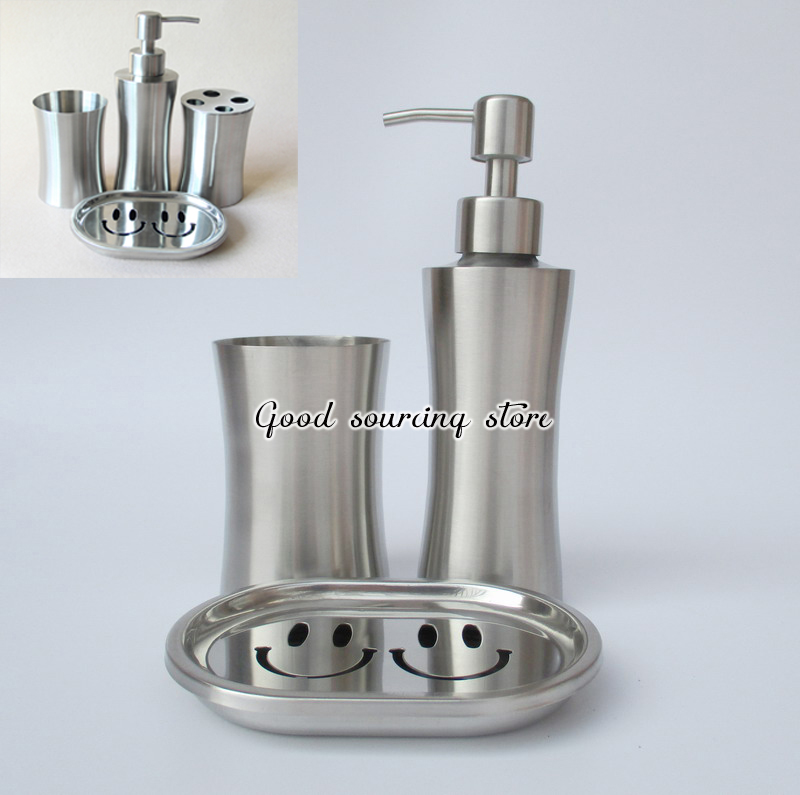 Free shipping three-piece stainless steel bathroom set, bathroom accessory (soap dispenser, tooth mug, toothbrush holder)